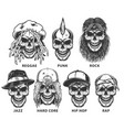 set of subculture skulls vector image vector image