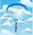 skydiver woman flying in the blue cloudy sky vector image