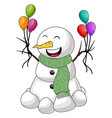 snowman with balloon on white background vector image