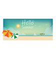 summer beach landscape vacations postcard with vector image