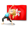 The flag of Hongkong at the back of a young girl vector image vector image