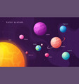 the solar system colorful cartoon infographic vector image vector image