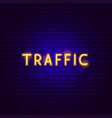 traffic neon text vector image