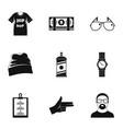 urban rap icon set simple style vector image vector image
