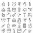 welder icon set outline style vector image