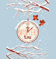 winter banner with snow-covered branches and birds vector image