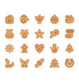 xmas gingerbread simple color flat icon set vector image vector image