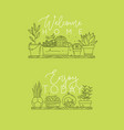 shelf with flowers welcome home light green vector image