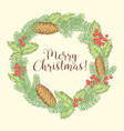 christmas hand drawn greeting card with wreath vector image