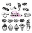Trendy sweets set in sketch vector image