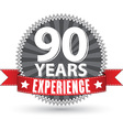 90 years experience retro label with red ribbon vector image