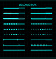 a loading bar a set of led luminescent loading vector image vector image