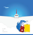 airplane with passport and ticket for background vector image vector image