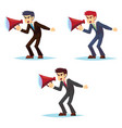 angry young businessman character shouting through vector image