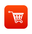 basket on wheels icon digital red vector image vector image