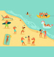 beach people relaxing persons swim sunbathing vector image