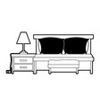 bedroom with sofa bed and lamp over nightstand vector image