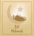 beige color background with frame eid mubarak vector image