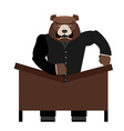 Big scary bear boss breaks table Aggressive chef vector image