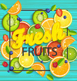 Blue wooden background with tropical fruits vector image vector image