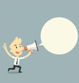 Businessman holding megaphone with bubble speech vector image vector image