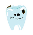 cartoon a sick tooth caries vector image