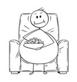 cartoon of fat or overweight man sitting on vector image