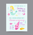 childish birthday invitation template with mermaid vector image vector image