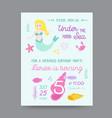 childish birthday invitation template with mermaid vector image