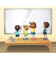 Children painting on the whiteboard vector image vector image