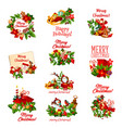 christmas holiday icon of santa snowman and gift vector image vector image