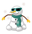 cool snowman on white background vector image