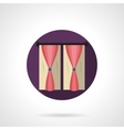 Drapes in interior round flat icon vector image vector image