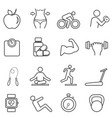 fitness diet line icons vector image vector image