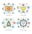 Flat line Video Marketing Financial Planning vector image vector image