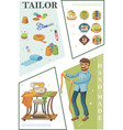 flat tailoring composition vector image vector image
