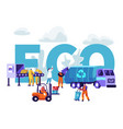 garbage recycling eco concept workers litter vector image vector image
