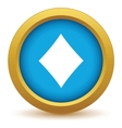 Gold diamonds card icon vector image