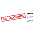grunge 0 percent alcohol scratched rectangle vector image vector image