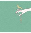 hand bird vector image vector image