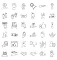 hand icons set outline style vector image vector image
