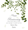 happy anniversary card with watercolor green vector image vector image