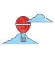 hot air balloon basket flying in sky vector image vector image