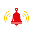 icon red metallic bell vector image
