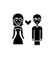 love couple black icon sign on isolated vector image