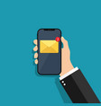 message on phone screen hand holding mobile vector image
