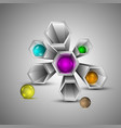 metal 3d hexagons with multi colored spheres vector image