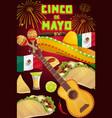 mexican sombrero guitar maracas cinco de mayo vector image vector image