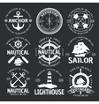 Nautical Emblem Set On Black vector image vector image