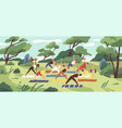 outdoor yoga class flat young vector image vector image